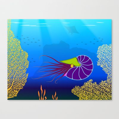 Paper Craft Nautilus Print - The colorful nautilus floats among coral fans in an ocean reef waiting for its next meal. In the background are murky silhouettes of a manta ray and schools of fish.