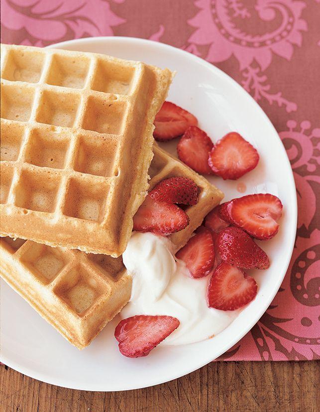 Multigrain Ricotta Waffles with Strawberries and Yogurt