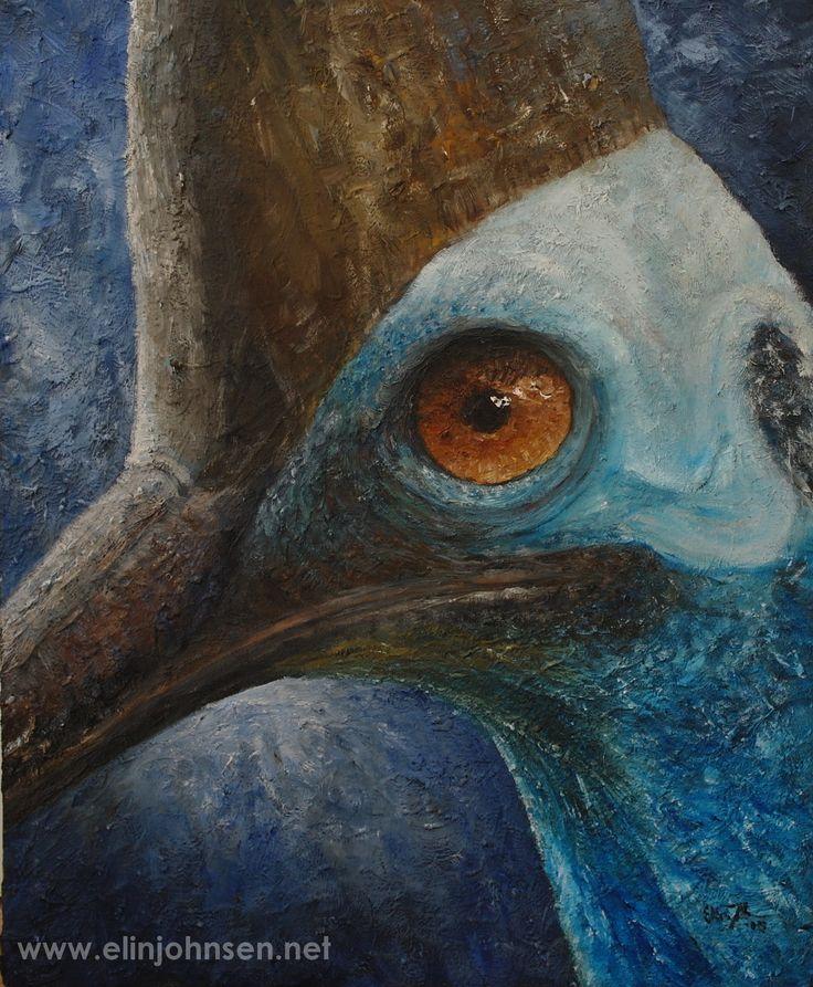 Southern Cassowary/ Hjelmkassuar (Casuarius casuarius). Oil on canvas/olje på lerret, 2015. #endangered #endangeredspecies #art #wildlifeart #painting #oilpainting #artwork #artforconservation #oiloncanvas #nature #bird #conservation #birdconservation #wildlifeconservation #portrait #cassowary #nature #kunst #maleri #oljemaling #fugl #verdtåbevare #truetdyreart #oljepålerret
