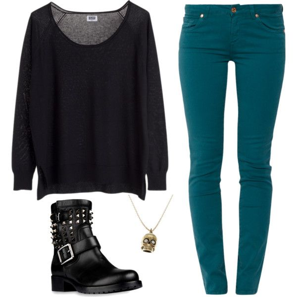 Teal and Black Punk Rock Girl