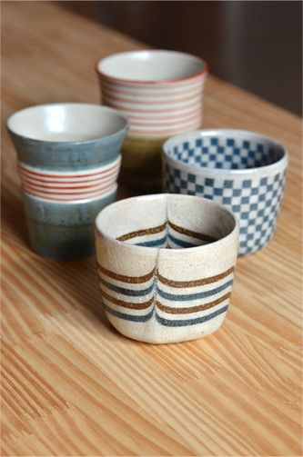 Japanese Sobachoko Cups beautiful and simple design love the pattern especially the one in the foreground