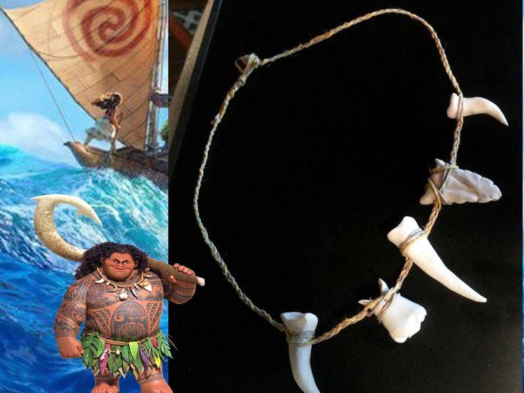 Maui Demigod Bone Necklace - Moana Inspired Maui Necklace Jewelry - Shark Teeth - Costume Jewelry