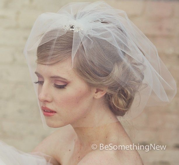 Birdcage Veil in Tulle with Rhinestone Flower Comb - Three short veils on a comb with a birdcage blusher veil - Wedding veil - classic - traditional - white - ivory - champagne - handmade - unique - ooak. http://www.aftcra.com/besomethingnew/listing/13305/birdcage-veil-in-tulle-with-rhinestone-flower-comb