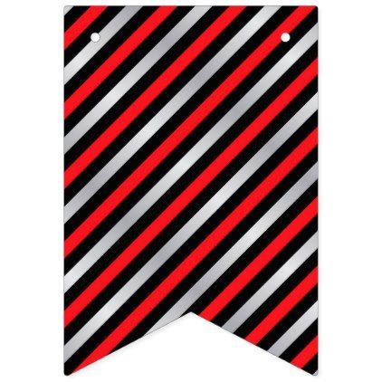 Black Red Silver Stripe Wedding Bunting Flags - pattern sample design template diy cyo customize