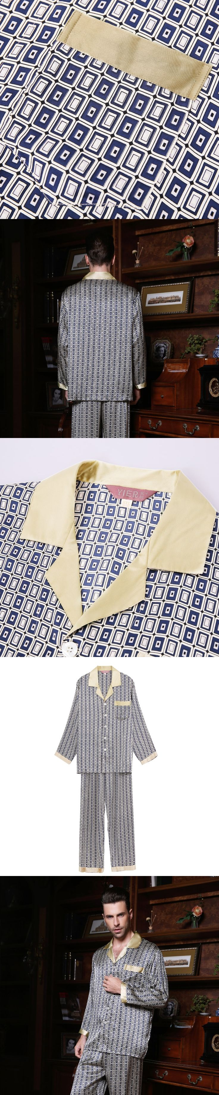 Wholesales Pure Silk Satin Sleepwear Sale Long-Sleeve Men Pyjamas Pajama Sets Pants 100% Natural Silk Pajamas Set YF2631