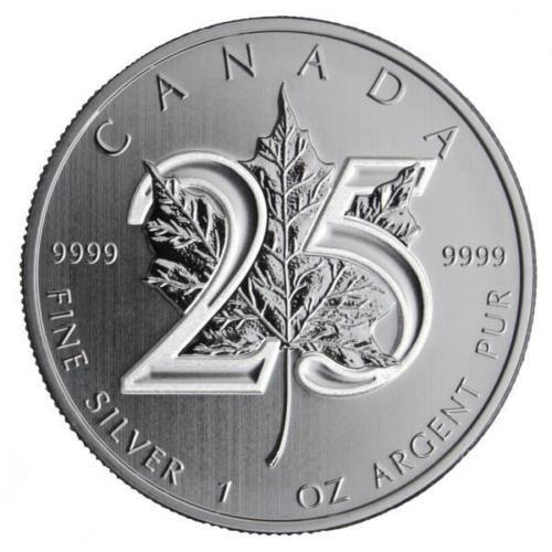 New-2013-Canadian-Silver-Maple-Leaf-25th-Anniversary-1oz-Bullion-Coin
