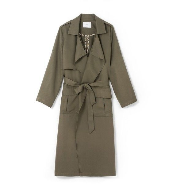 Longline raincoat with long roll-up sleeves khaki SUNCOO (3.971.320 IDR) ❤ liked on Polyvore featuring outerwear, coats, long raincoat, suncoo, long sleeve coat, longline coat and brown coat