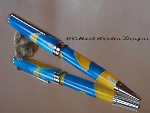 European Handmade Ballpoint Pen-Yellow Blue & White Ribbons