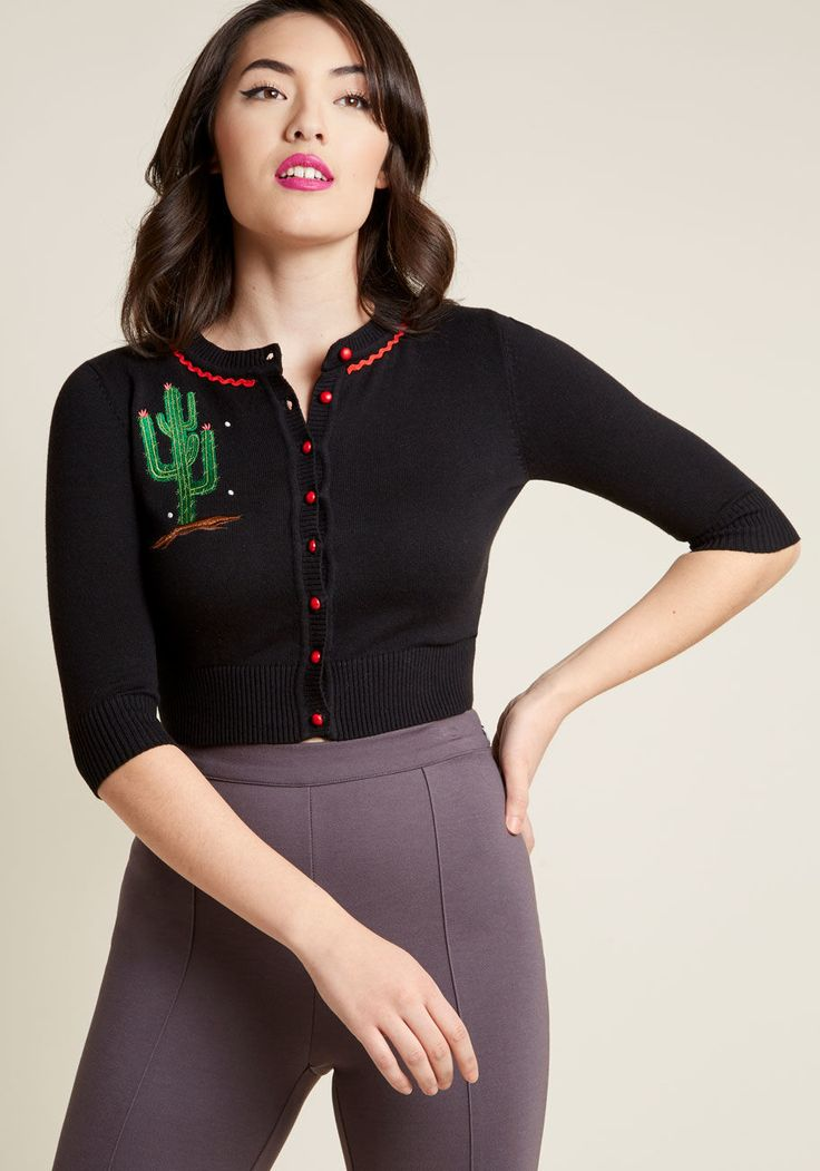 Collectif Thorn This Way Cropped Cardigan, #ModCloth