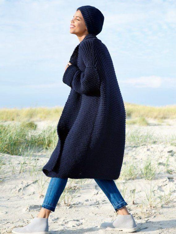 17 Colors Women Chunky Knit Coat Bulky Coat Alpaca Wool Coat