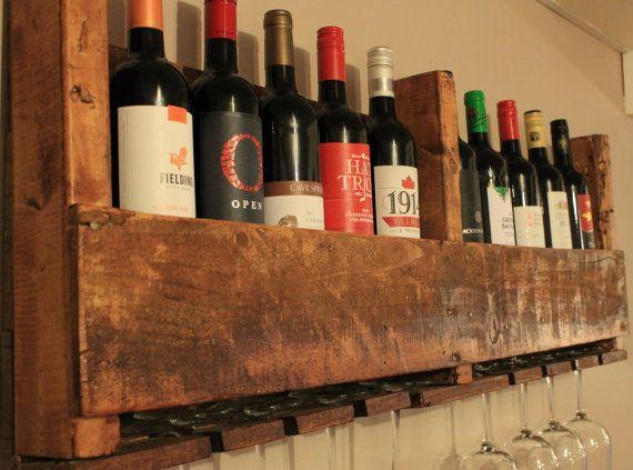 Pallet Wine Rack, Wine Glass Holder, Large Wine Rack, Small Wine Rack, Reclaimed Wood Wine Rack