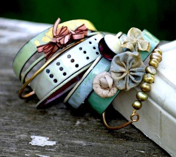 one of my long-time favorites!! bullfinchbarbury on Etsy: Homemade Bracelets, Fashion, Enamels Bangles, Bangles Sets, Style, Summer Jewelry, Stacking Bracelets, Recycled Jewelry, Jewelry Ideas