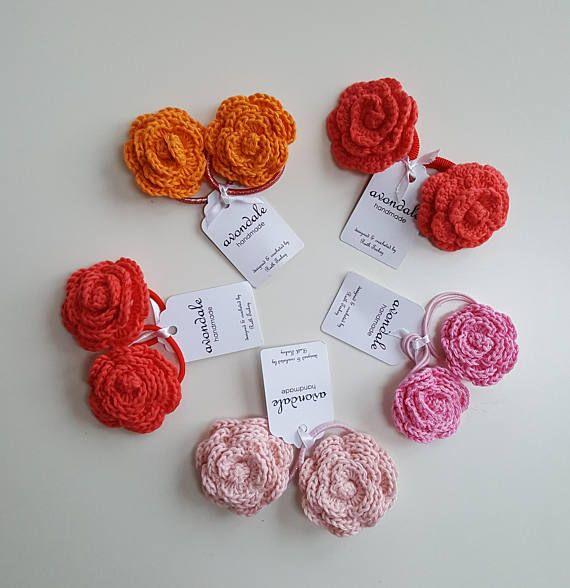 crochet rose flower hair bobbles by avondale handmade on etsy