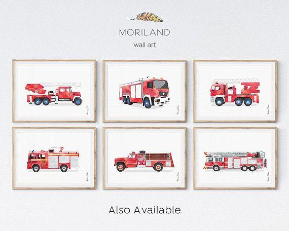 Fire Truck Print Fire Truck Wall Art Play Room Decor Fire Fire Truck Wall Art Trucks Print Boy Room Art