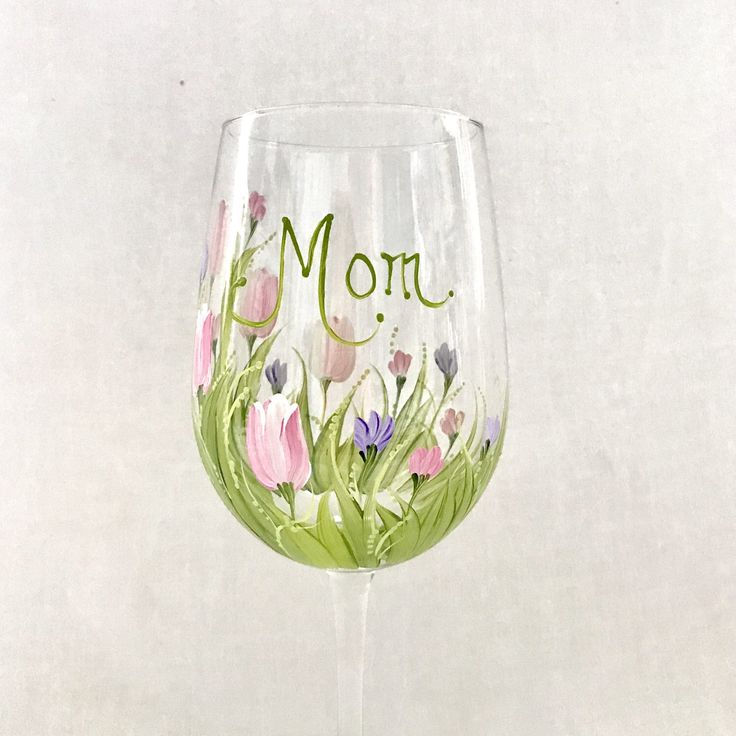 Free shipping Tulips hand painted personalized wine glass for grandma nana mom sister aunt friend cousin bridesmaid grandma sister in law by DeannaBakale on Etsy https://www.etsy.com/listing/521865959/free-shipping-tulips-hand-painted