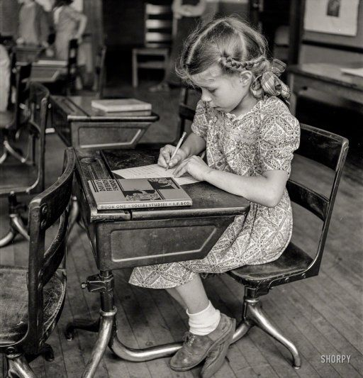 """""""Schoolgirl studying"""" May 1940. Southington, Connecticut. http://www.shorpy.com/node/21408 Photo by Fenno Jacobs for the Office of War Information"""