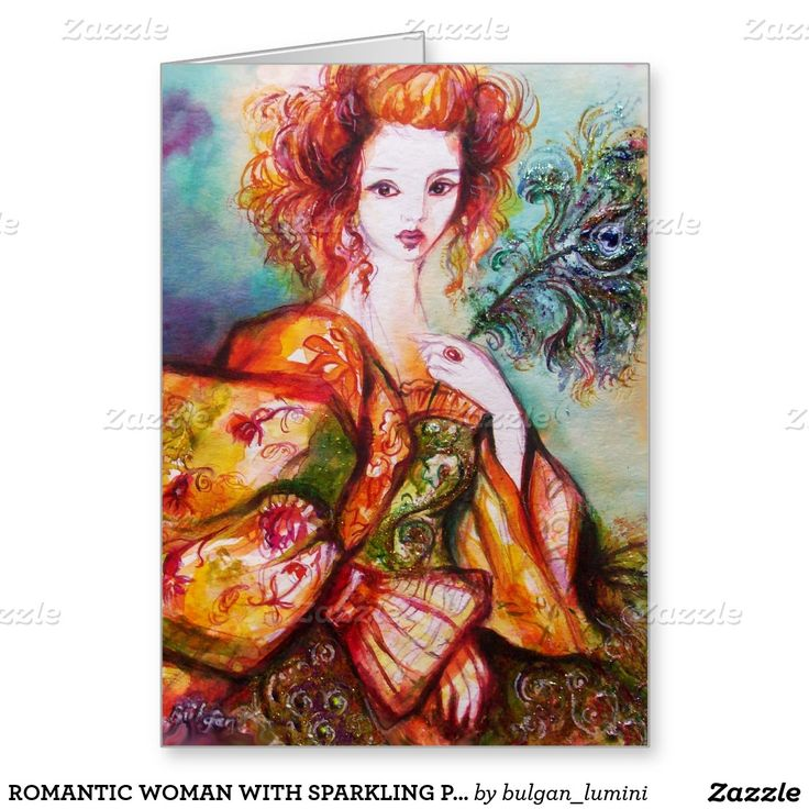 ROMANTIC WOMAN WITH SPARKLING PEACOCK FEATHER GREETING CARD