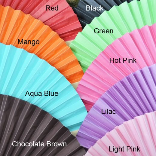 Colored Paper Fans - Wedding Hand Fans - Destination Wedding Favors