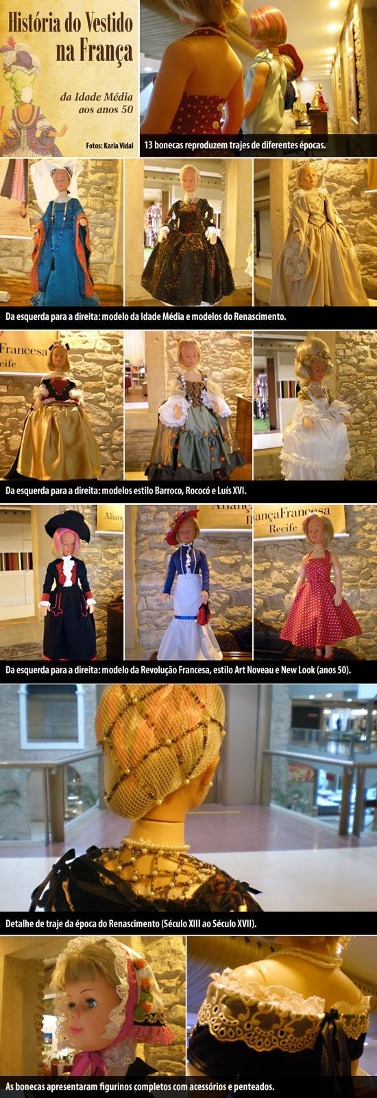 Visitamos hoje a exposição História do Vestido na França: da Idade Média aos anos 50 que exibe, desde o último dia 16, reproduções de modelos de roupas, calçados, penteados e acessórios de diferentes épocas da História Francesa.