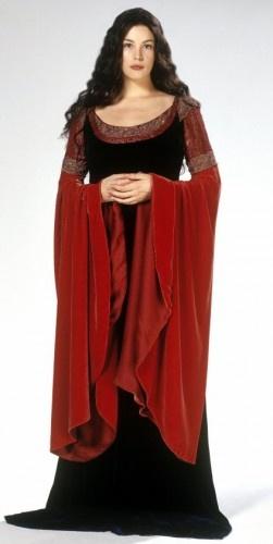 *Rouge Groseille  « Le seigneur des Anneaux », Arwen Undomiel, robe d'intérieur, bibliothèque, vision d'Aragorn  Costume Design : Ngila Dikinson