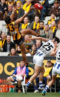 Cyril Rioli almost takes mark of the year. AFL 2016 Rd 21 - Hawthorn v North Melbourne