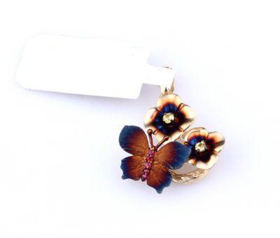 14 Ayar Altın Çiçekli Kelebek Kolye Ucu