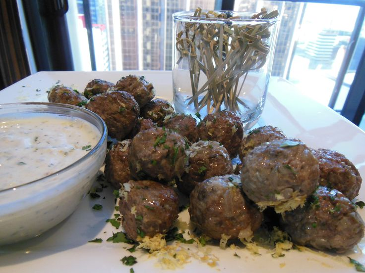 Combine some greek yoghurt with fresh coriander and mint leaves, chopped and some ground cumin and zest of a lemon. Lamb Meatballs and Cumin Yoghurt