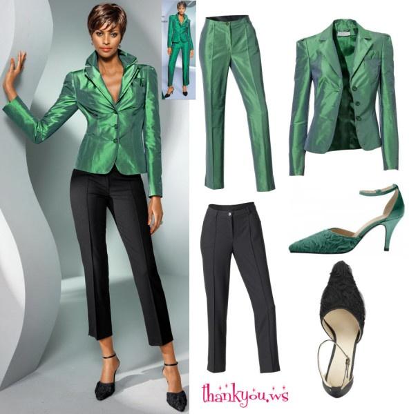 tinuta verde smarald cu negru, formata din sacou elegant din matase verde si pantalon 3/4 negri sau pantaloni lungi din acelasi material cu al sacoului. #sacouverdesmarald Detalii cu preturi si cum poti comanda aici http://thankyou.ws/sacouri-dama-online-elegante-si-rafinate-pentru-tinute-casual-si-office