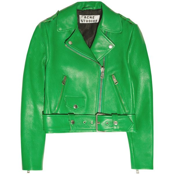 Acne Studios Mape cropped leather jacket (9,505 EGP) ❤ liked on Polyvore featuring outerwear, jackets, green, leather, leather jackets, leaf green, epaulet jacket, green zipper jacket, green leather jacket and lapel jacket