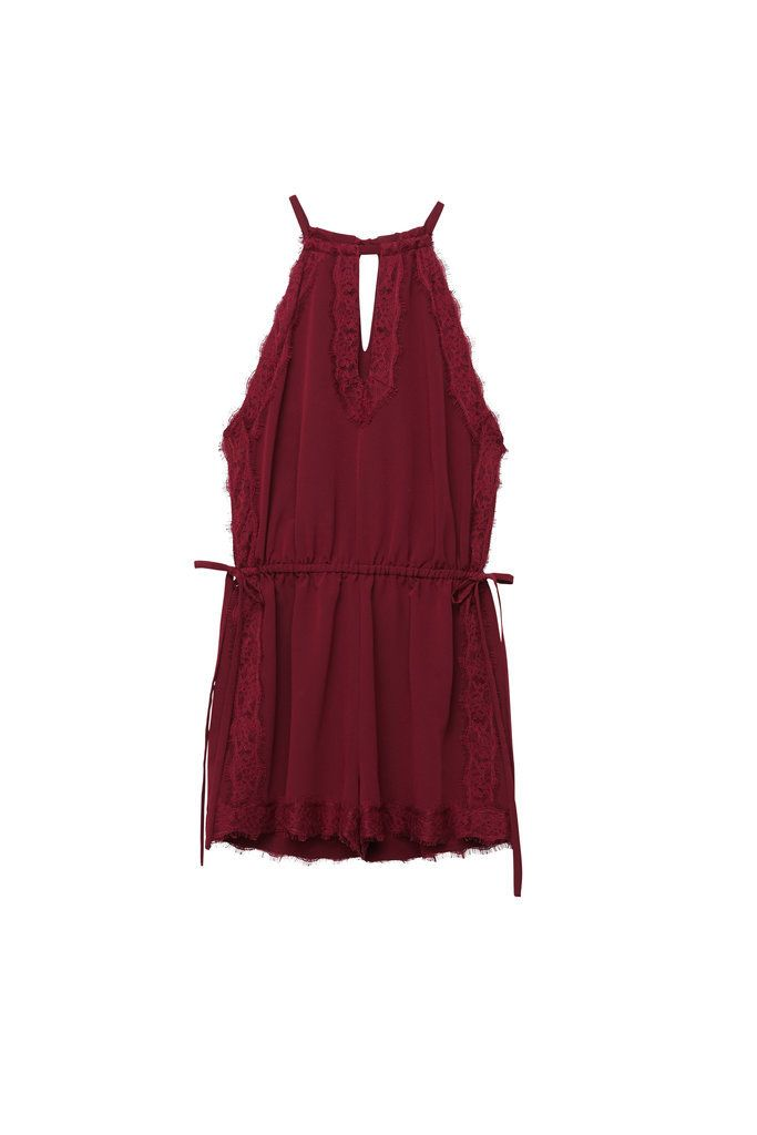 Kendall and Kylie x PacSun Maroon Lace Side Tie Romper ($45)