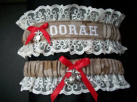 """Semper Fi - Oorah"" Digital Desert Camouflage Print, White Lace, Red Bow & Marine Corps Emblem Charm Wedding Garters: Marine Corps"