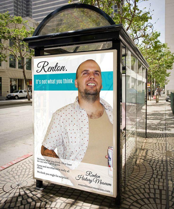 Midterm mock-up of Renton bus stop ad.
