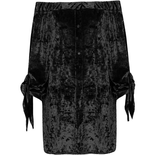 Maybelle Crushed Velvet Bardot Top (1,030 MXN) ❤ liked on Polyvore featuring plus size women's fashion, plus size clothing, plus size tops, black, plus size, stretch top, plus size party tops, night out tops, off shoulder tops and plus size bell sleeve tops