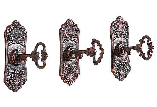 Alice Key in Lock Hook, Set of 3