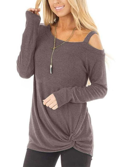 0a77572ffa4649 Crossed Front Design Plain One Shoulder Long Sleeves Top in 2019 ...