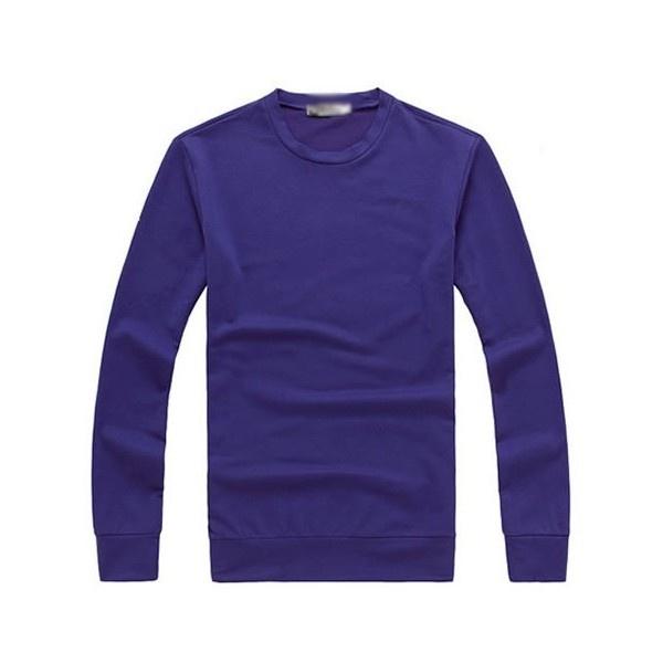 Buy Men Cotton Purple Round Neck Long Sleeves Casual Tops M/L/XL/XXL... via Polyvore