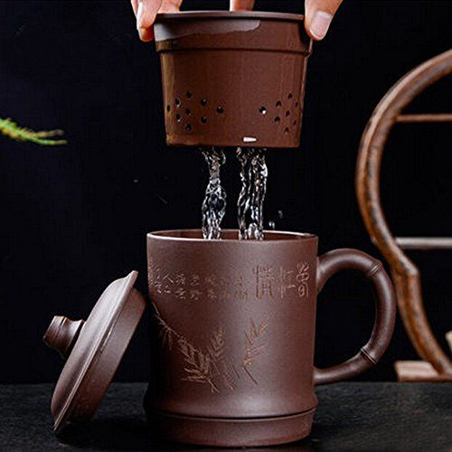 XIDUOBAO Teagas Purple Clay Gaiwan Tea Cup Gongfu Teacup Famous Chinese Yi Xing Purple Clay Tea Cup, Infuser Cup With Saucer & Lid Tea Cup. -- Click image to review more details.