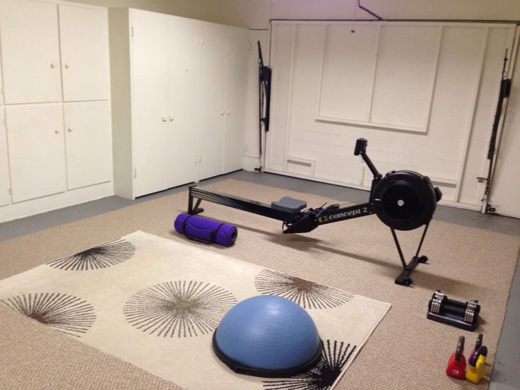 Garage Turned Into Gym Love Our New Concept 2 Rower Full Body Workout At Home Gym Gym Fitness Body