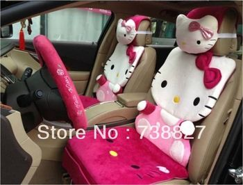 2015 Rushed New 12pcs Car Seat Cover Set Cartoon Hello Kitty Rose For Universal Interior Decoration