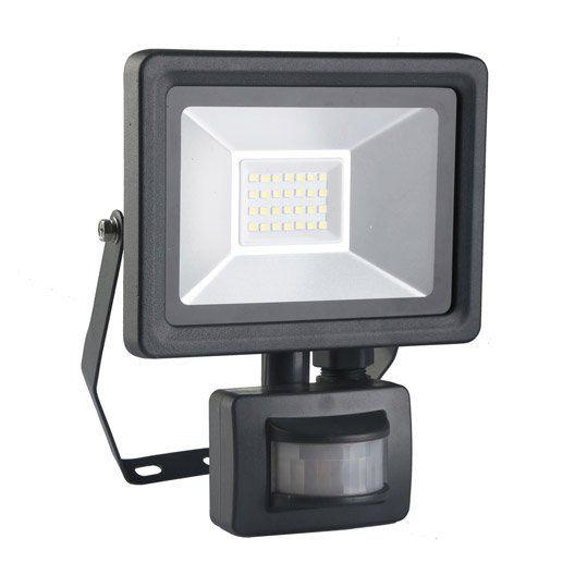 Projecteur à fixer à détection extérieur LED intégrée 20W = 1500Lm, noir INSPIRE
