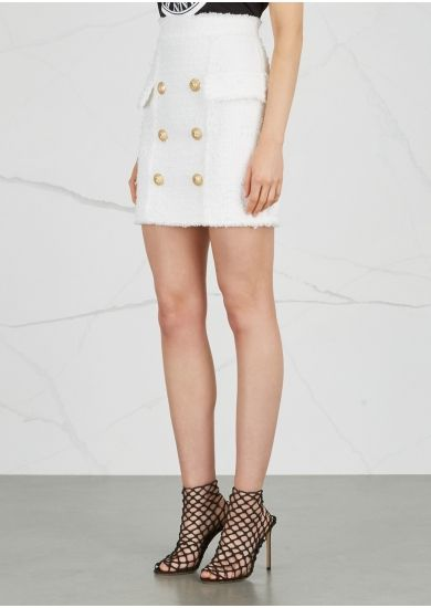 Balmain White tweed mini skirt - Harvey Nichols