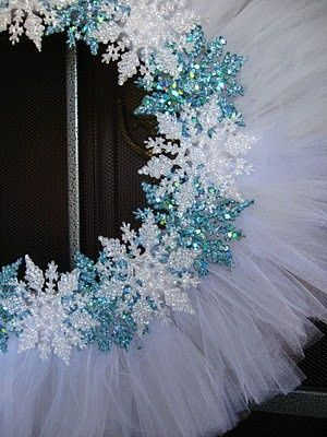 A little inexpensive white tulle and some Dollar Tree glittery snowflakes and... Voila! Winter wreath! Super cute idea for a cute wreath.