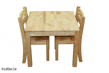 $200 rubberwood: Deluxe Table And 2 Stackable Chairs, Wooden Toys Australia, Kidsmile.com.au
