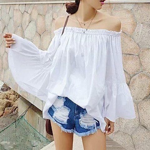 Plus Size Long Sleeve Slash Neck Pullover Women's BlouseBlouses | RoseGal.com