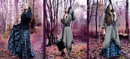 Алина Сапогова. Авторское длинное платье, в стиле фэнтези. `Silva severus` двойное бохо платье, эльфийское платье с капюшоном, платье в этно стиле. Осеннее бохо платье. Фотограф Александр Сапогов.