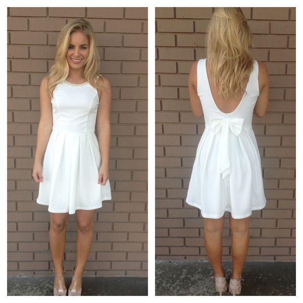 White Beaded & Bow Back Dress