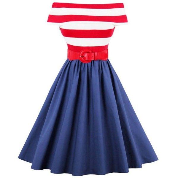 Stripe Off The Shoulder Vintage Dress (£14) ❤ liked on Polyvore featuring dresses, off shoulder dress, striped dresses, blue dress, off the shoulder dress and striped off the shoulder dress