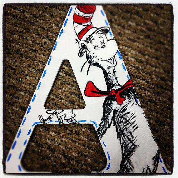 Dr Suess hand painted wood letters by calidreamincustomart on Etsy, $15.00