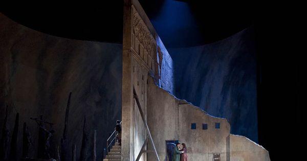 Goya inspired atmosp - Goya inspired atmosphere for David McVicar's production of Verdi's Il Trovatore for the Met. The revolving circular stage enables swift scene changes. Sets by Charles Edwards. --- #Theaterkompass #Theater #Theatre #Schauspiel #Tanztheater #Ballett #Oper #Musiktheater #Bühnenbau #Bühnenbild #Scénographie #Bühne #Stage #Set
