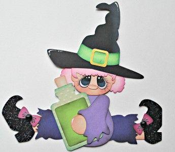 cute halloween witches paper piecing premade scrapbook pageborder tphh wolffey5 - Cute Halloween Witches